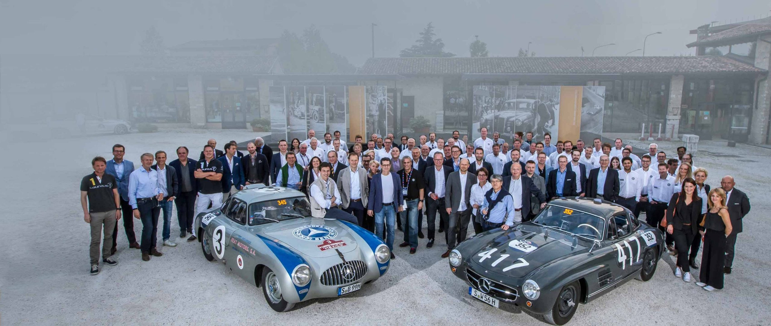 "1000 Miglia 2017: the Mercedes-Benz Classic team with a Mercedes-Benz 300 SL racing sports car (W 194, left) and a 300 SL ""Gullwing"" Coupé (W 198), 17 May 2017."