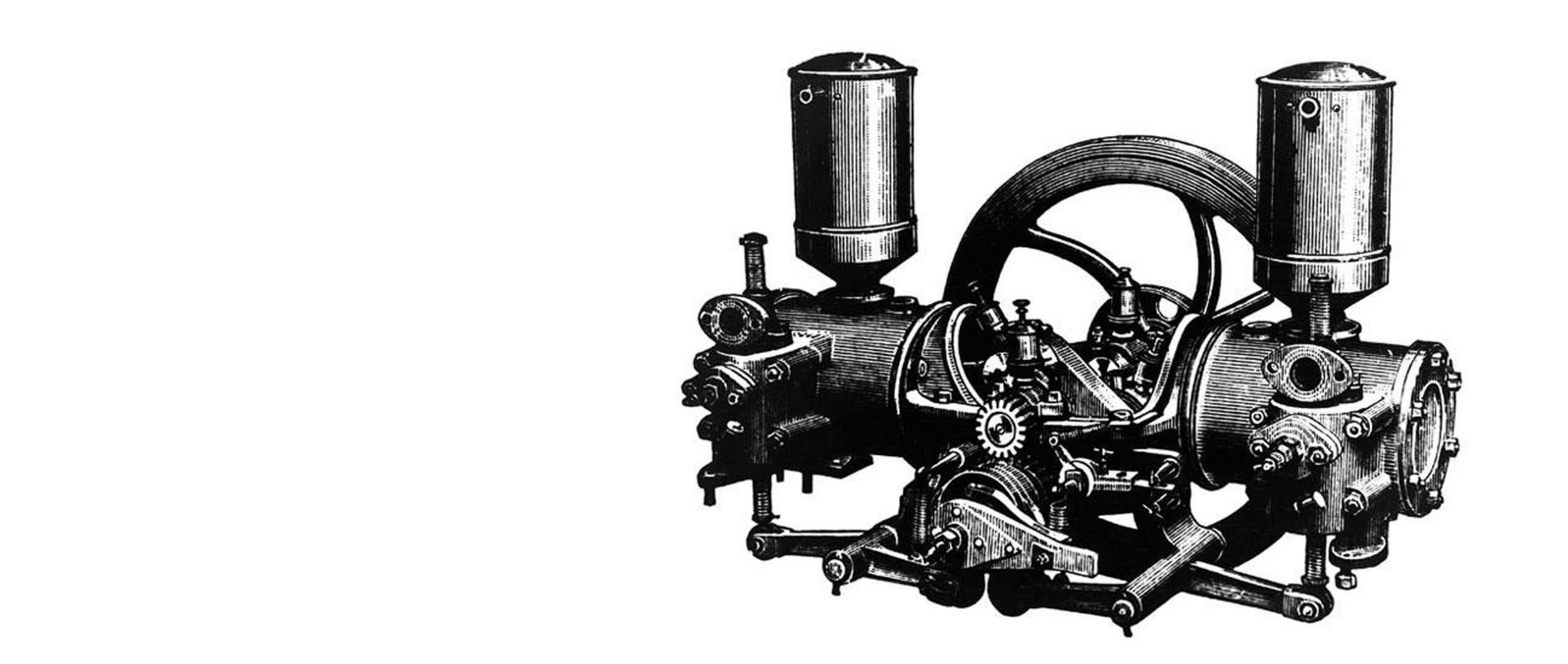 5 hp Benz two cylinder opposed-piston engine.