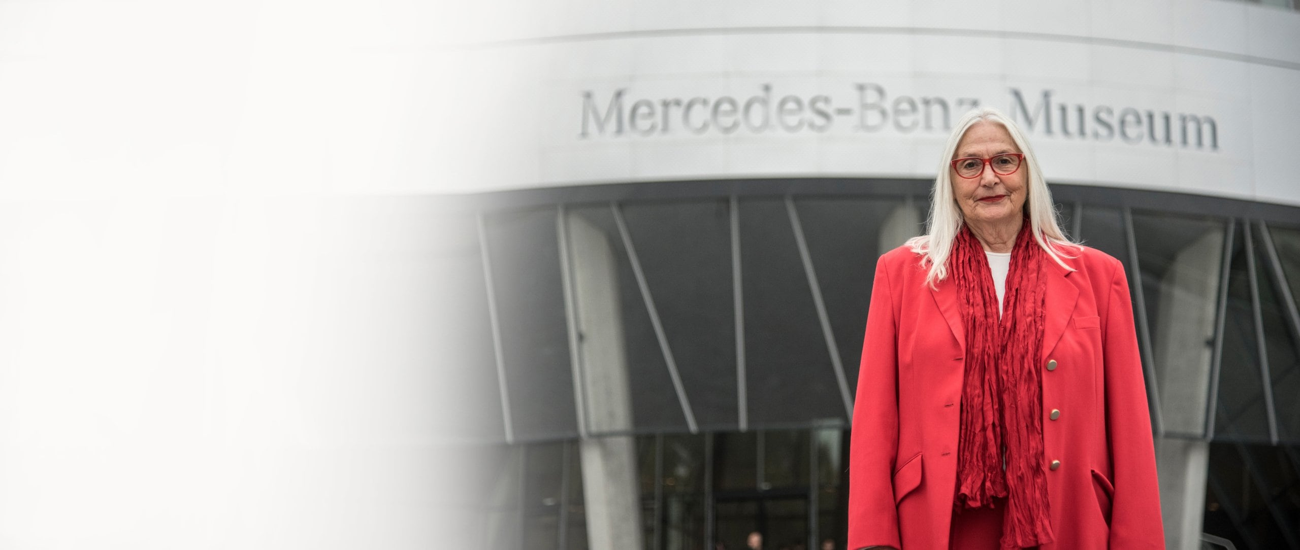 Jutta Benz in front of the Mercedes-Benz Museum.