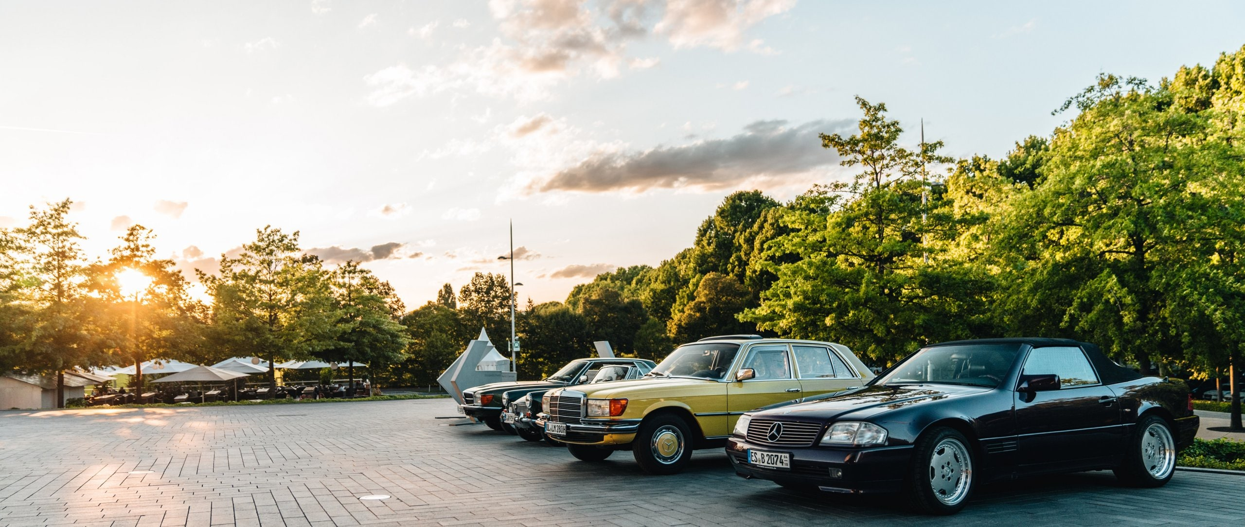 Classic cars as part of Cars & Coffee at the Mercedes-Benz Museum.