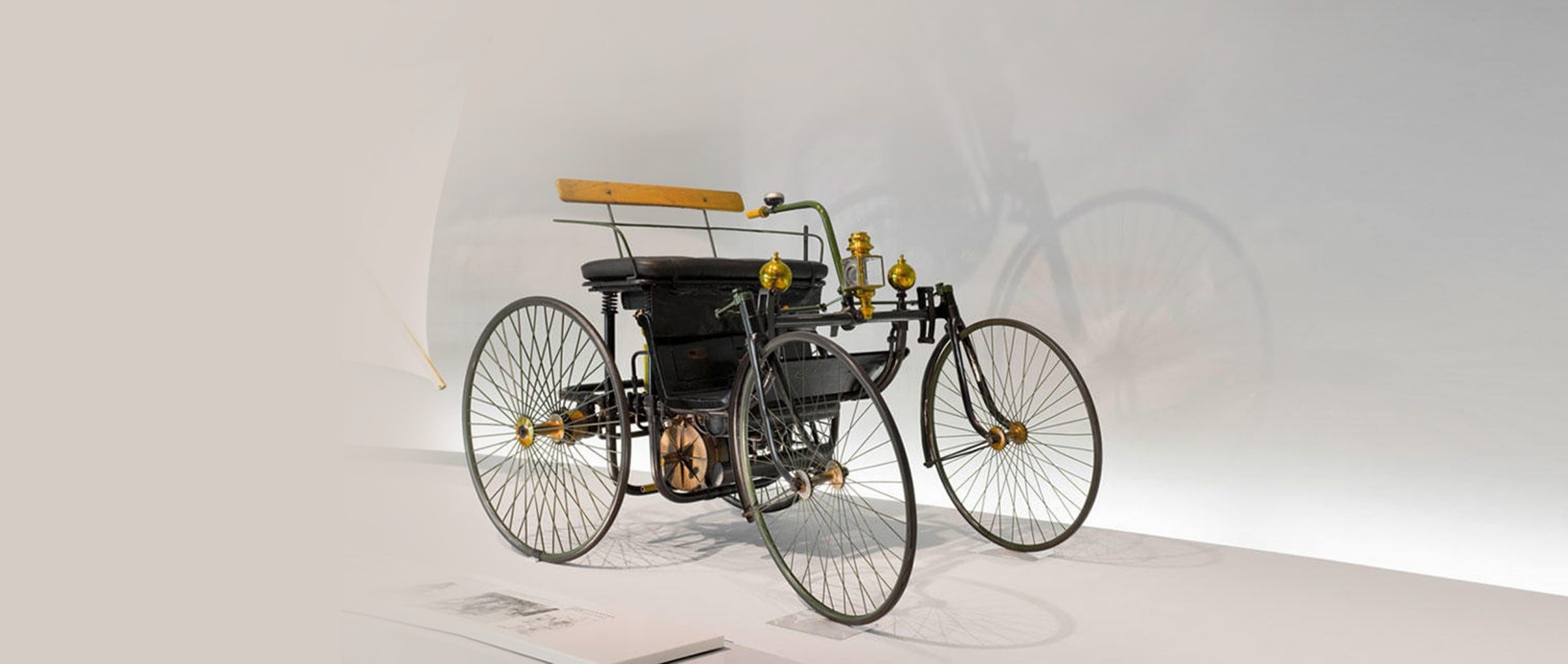 "Daimler motorized quadricycle - the ""wire-wheel car""."