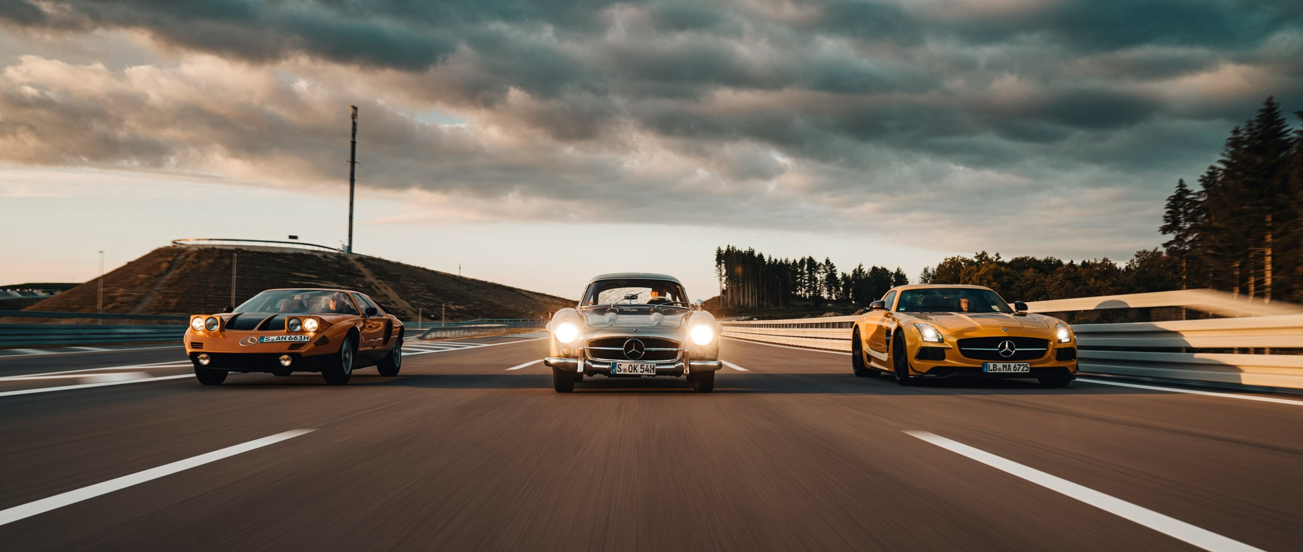 Three Mercedes-Benz dream cars on the race track.