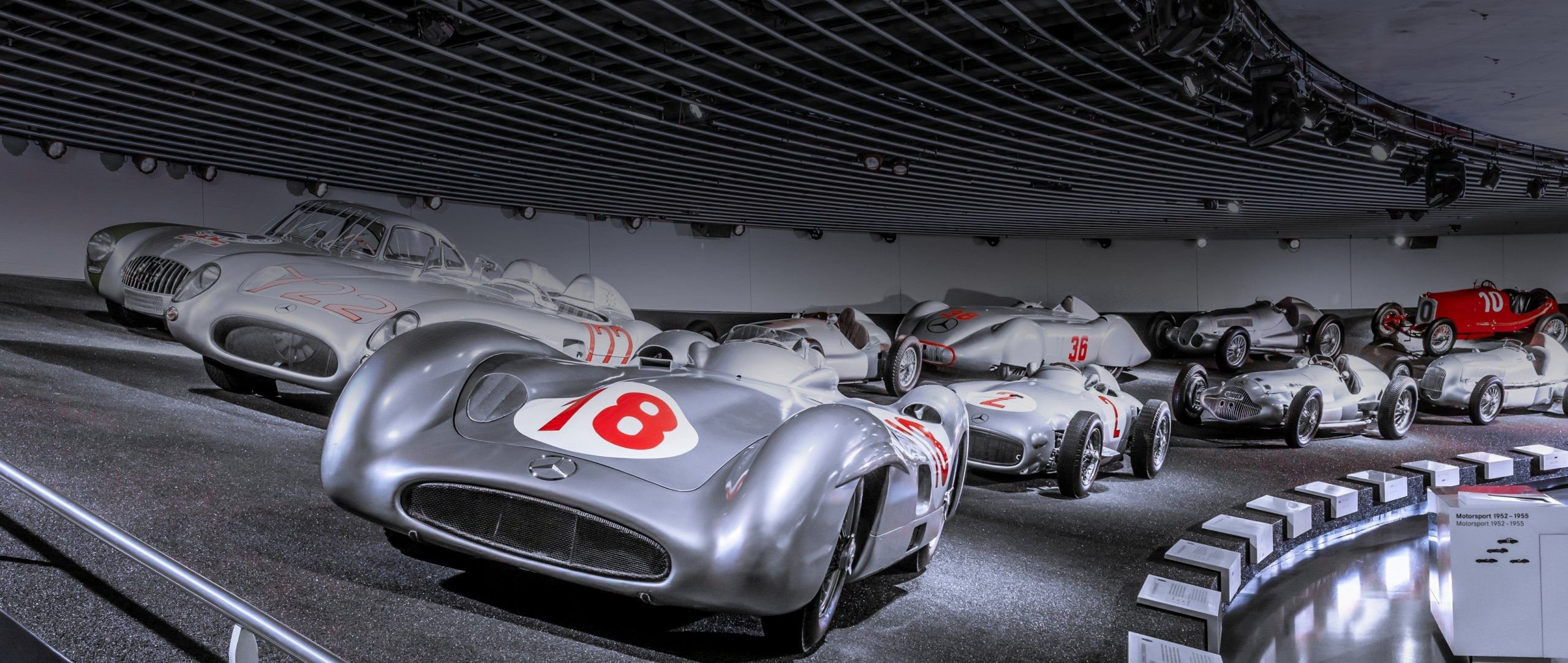 Vehicles in the Mercedes-Benz Museum in Stuttgart
