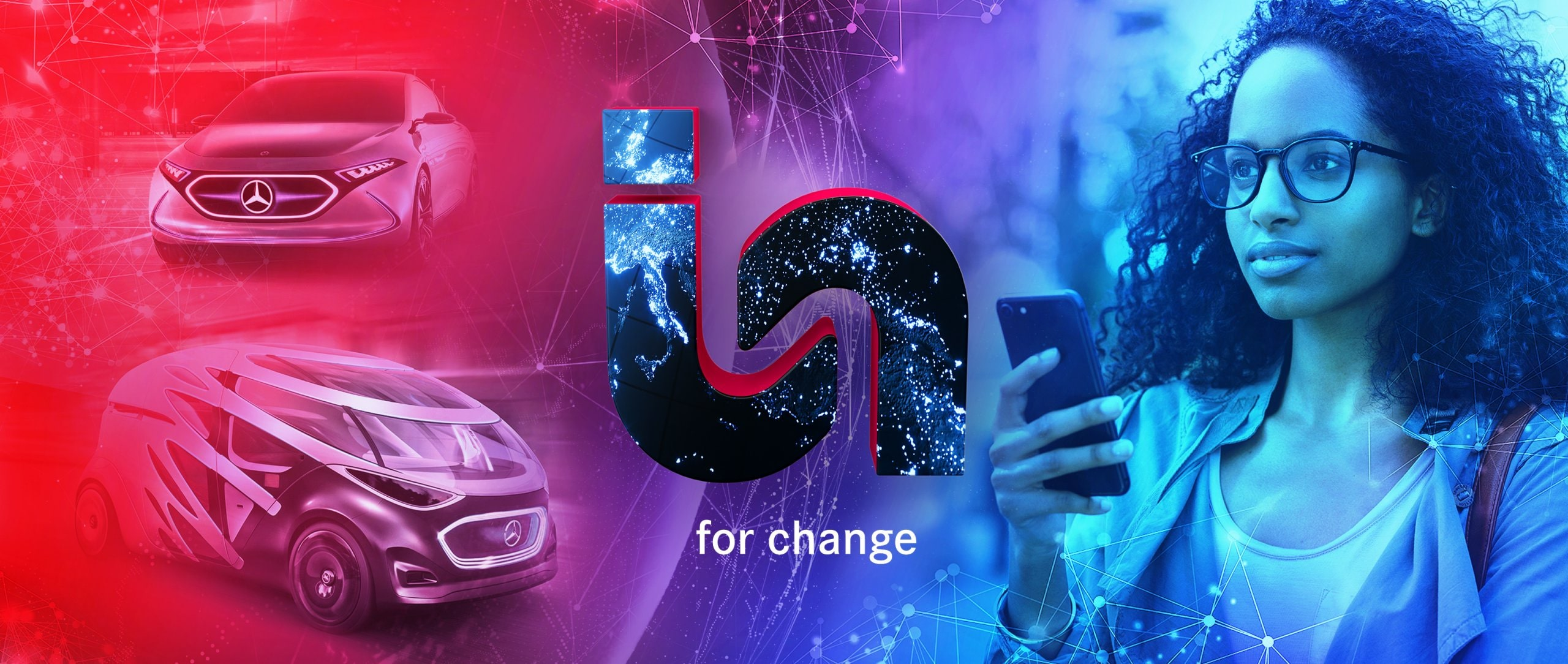 "The ""In for change"" logo: A woman is looking at her mobile phone."