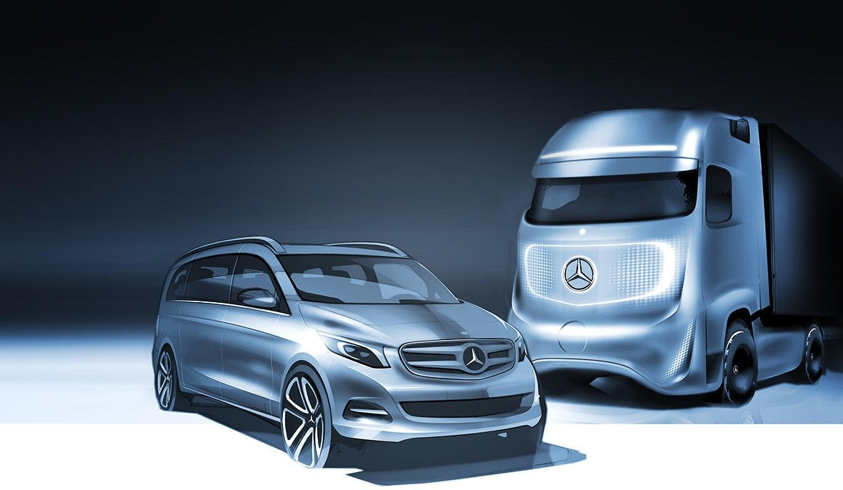 Drawing of concept vehicles from Mercedes-Benz.