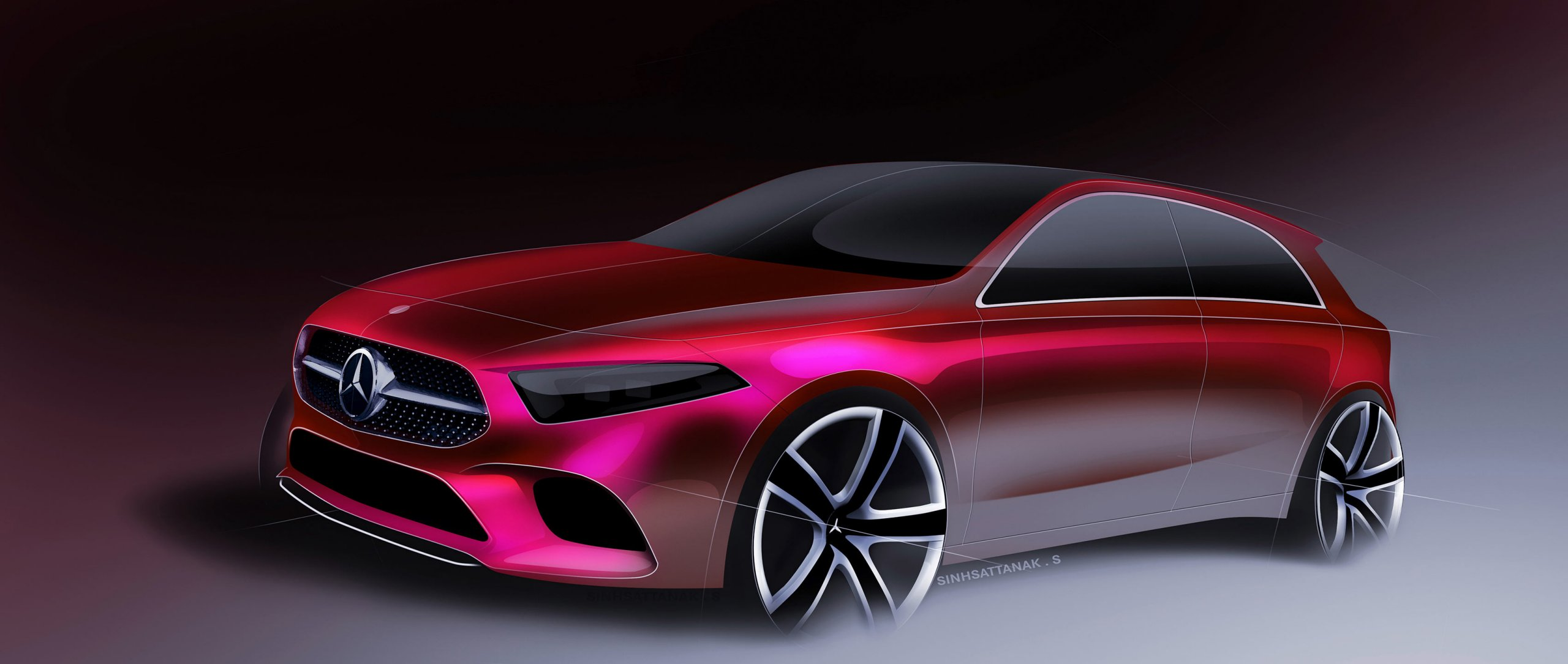 Mercedes-Benz design philosophy of Sensual Purity: Design sketch 2018 A-Class W 177