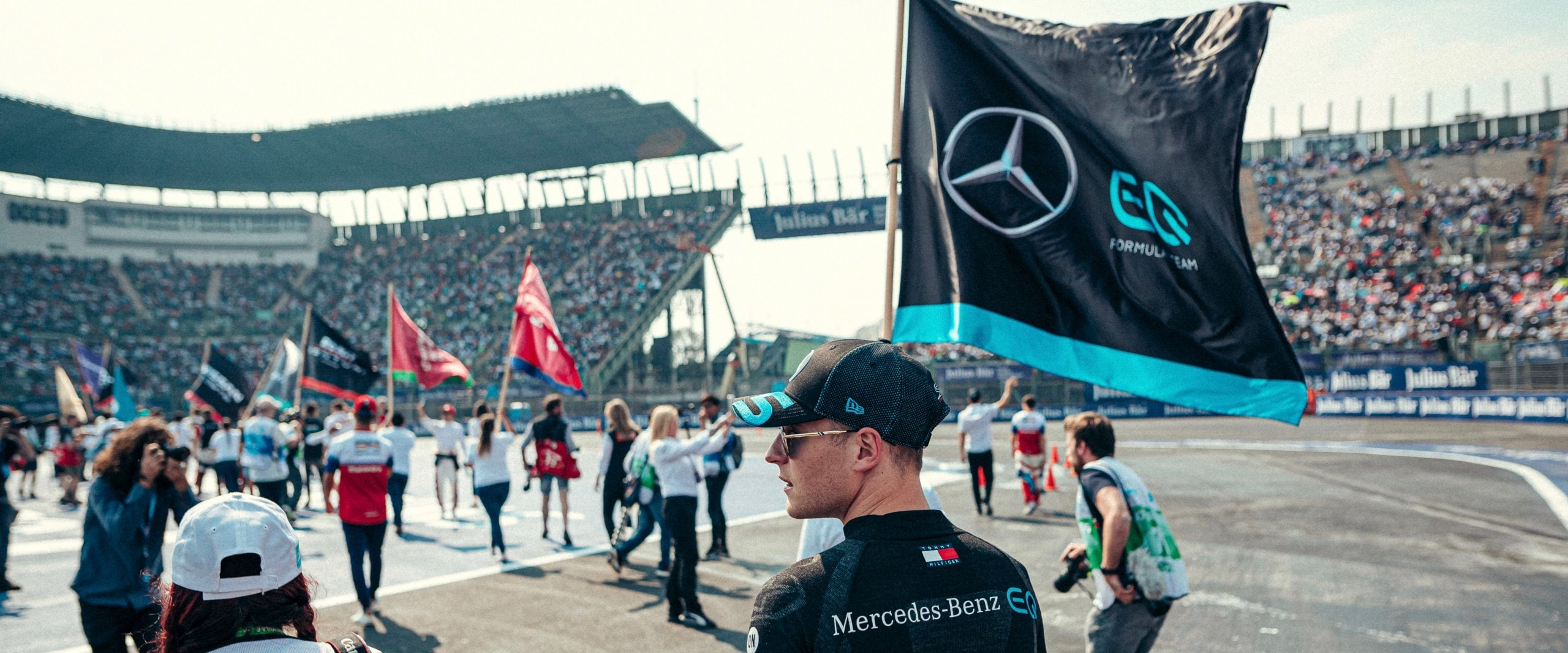 Racetrack in Mexico City with a Mercedes Flag