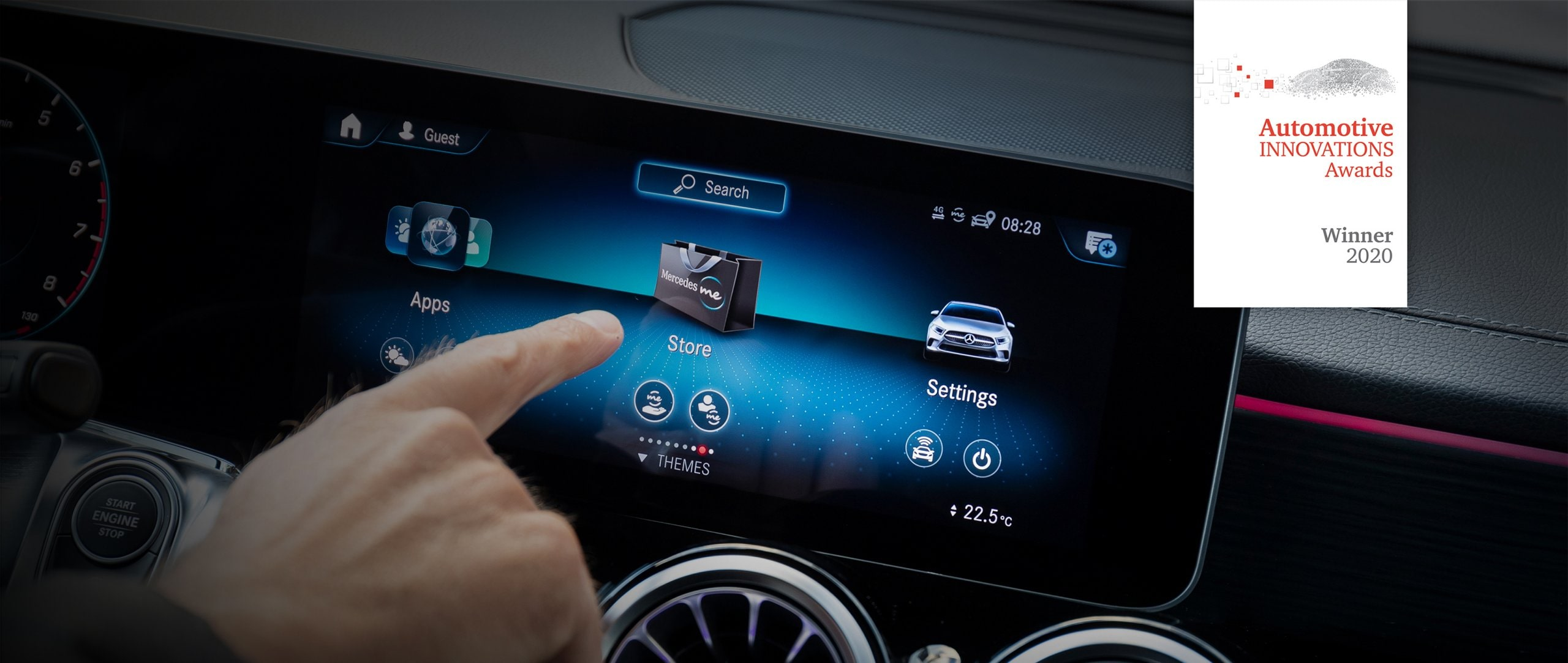 A hand operates the display of a Mercedes-Benz vehicle.