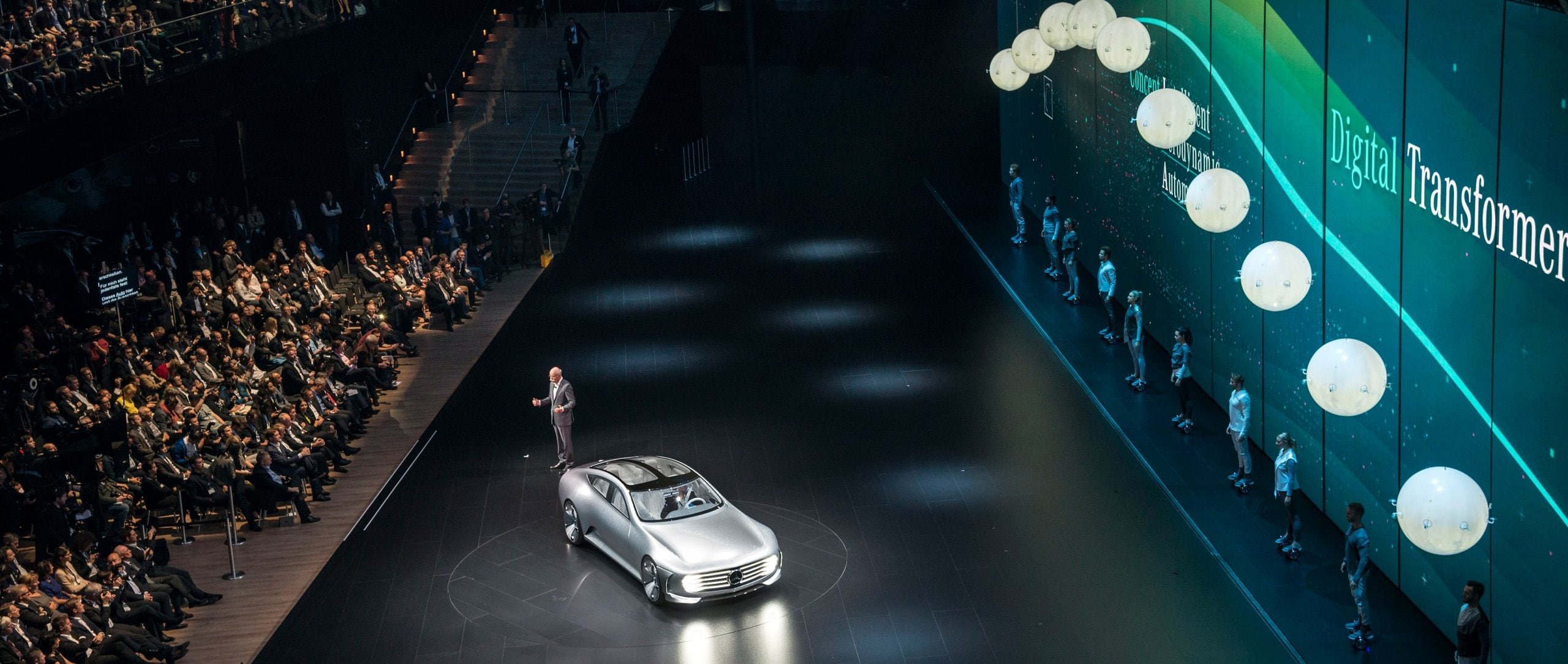 "Dr Dieter Zetsche and the Mercedes-Benz ""Concept IAA"" on the Mercedes-Benz stage."