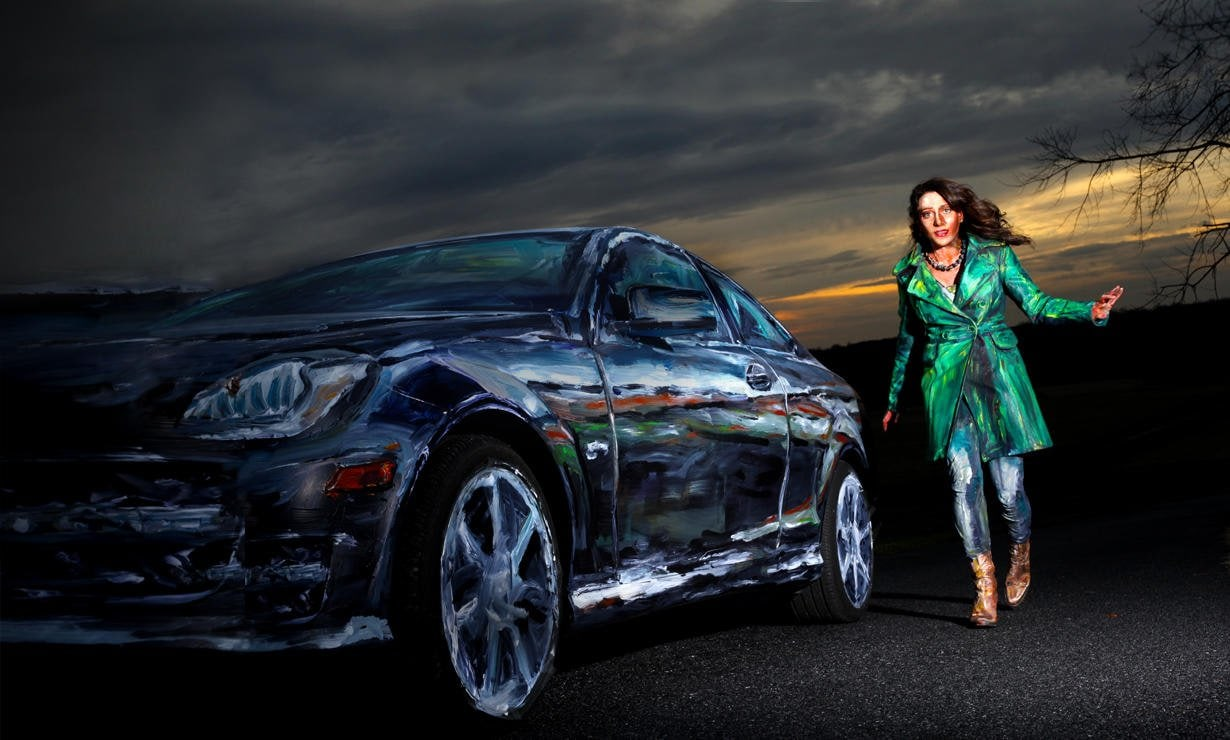 Alexa Meade's latest work involves a Mercedes-Benz C-Class Coupé and blends painting and photography to surreal effect.