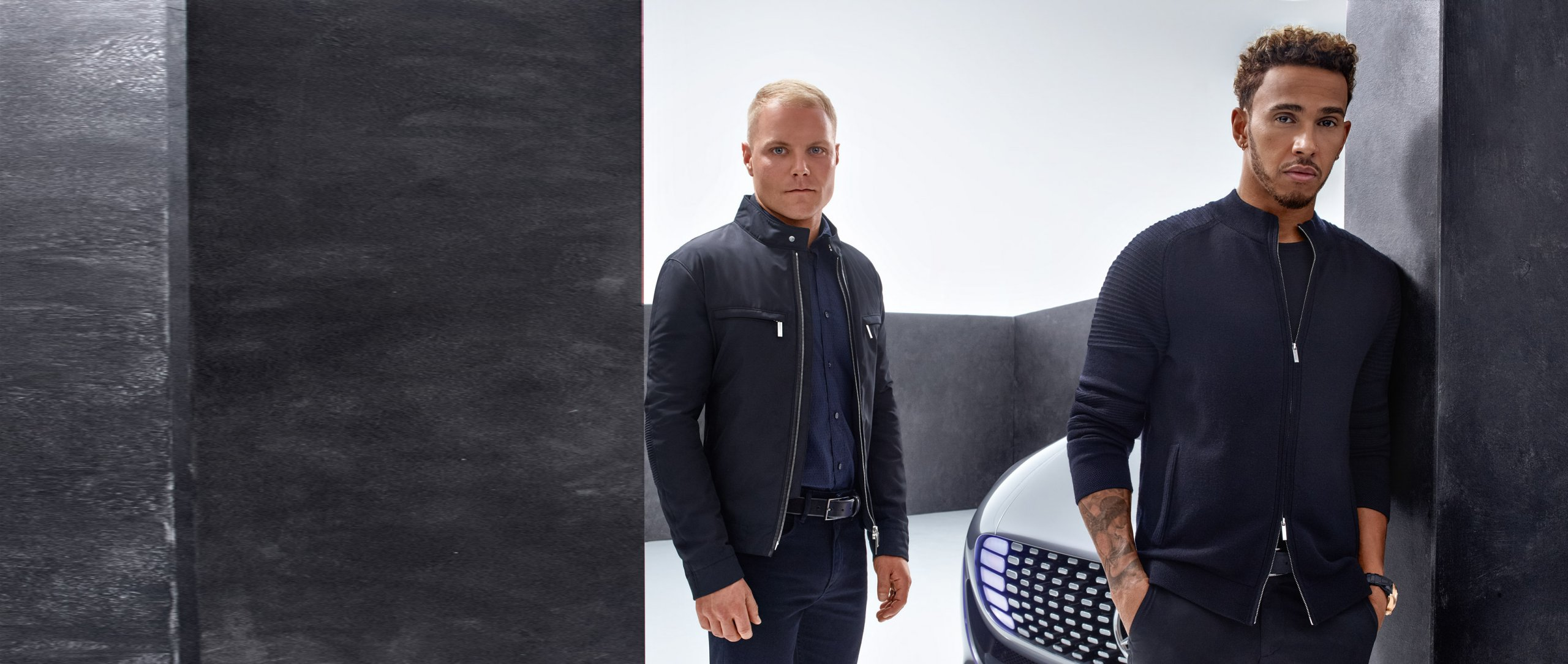 "The new ""Boss for Mercedes-Benz Collection"" is presented by Formula 1 stars Lewis Hamilton (right) and Valtteri Bottas."