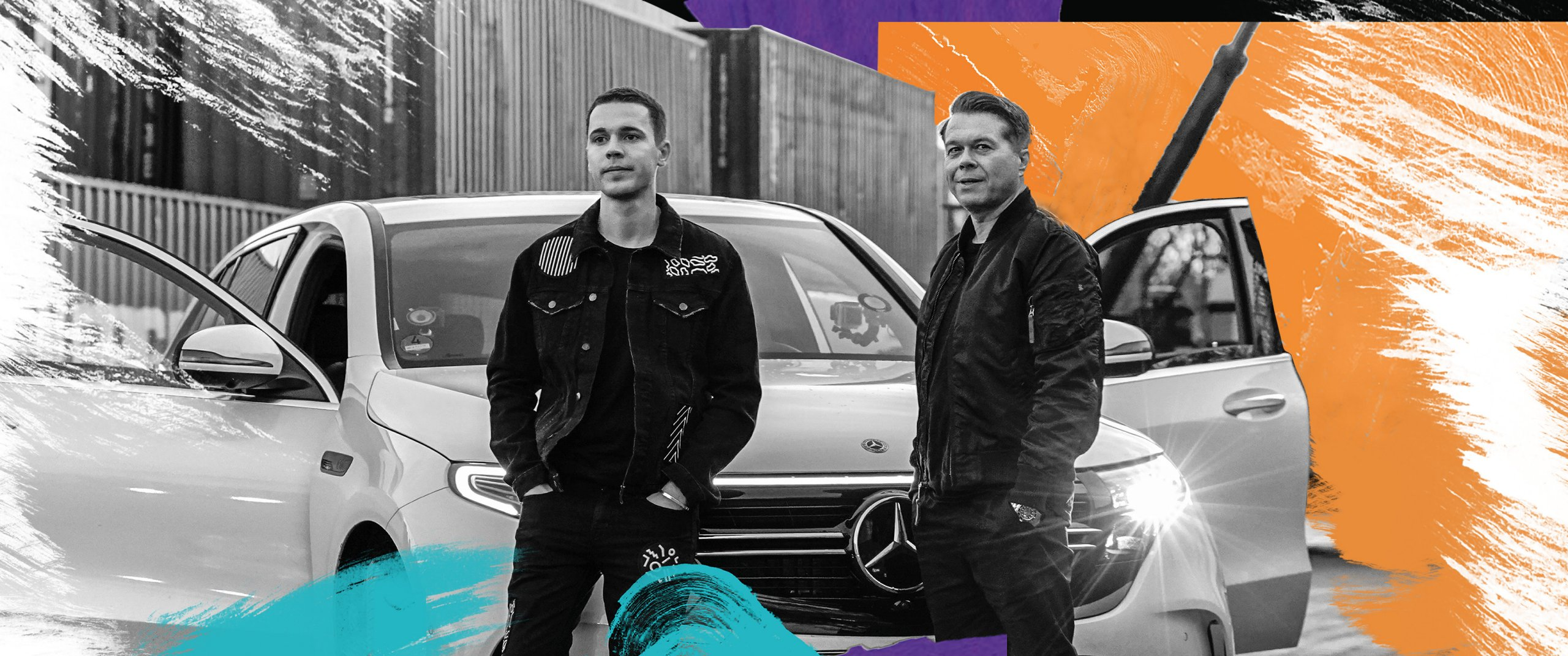 Felix Jaehn and Markus Kavka stand next to the Mercedes-Benz EQC.