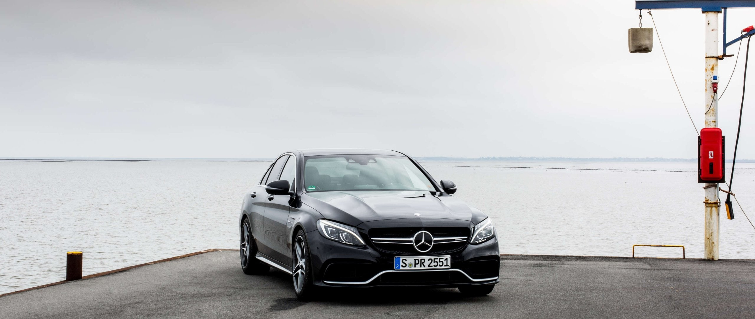 Mercedes-AMG C 63 S (W 205): front view of a black model.