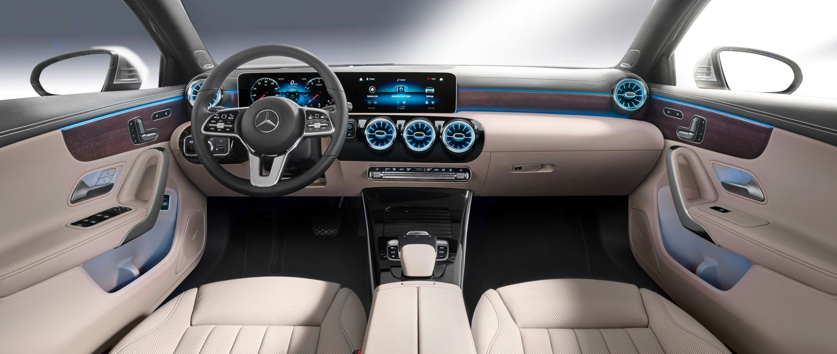 Interior of the new 2019 Mercedes-Benz A-Class Saloon (V 177).