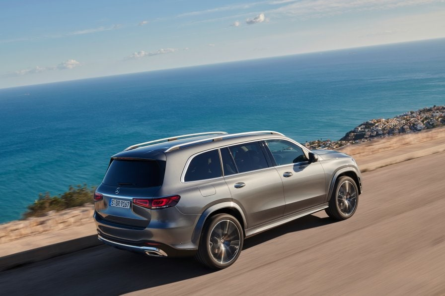 Rear View Of The New 2019 Mercedes Benz Gls X 167 In Selenite