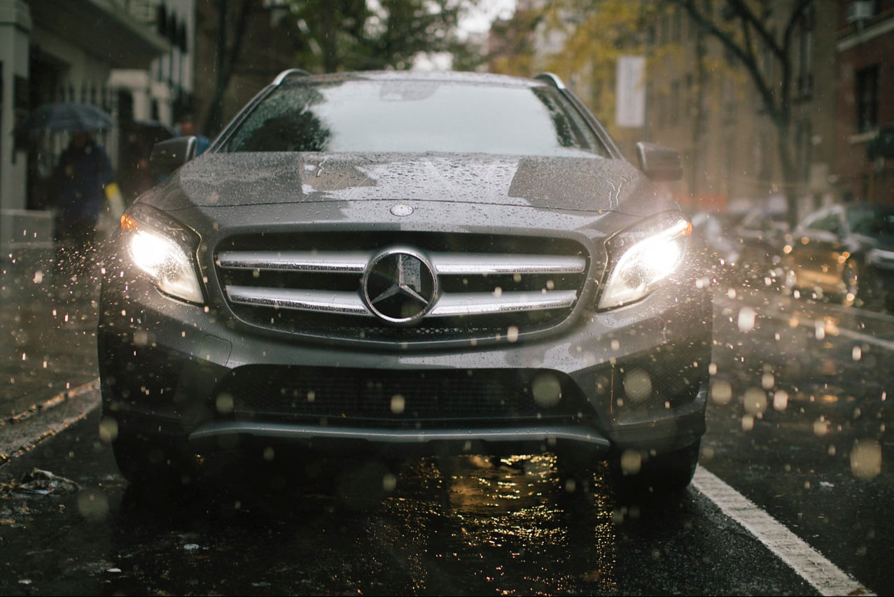front of Mercedes-Benz GLA in the rain