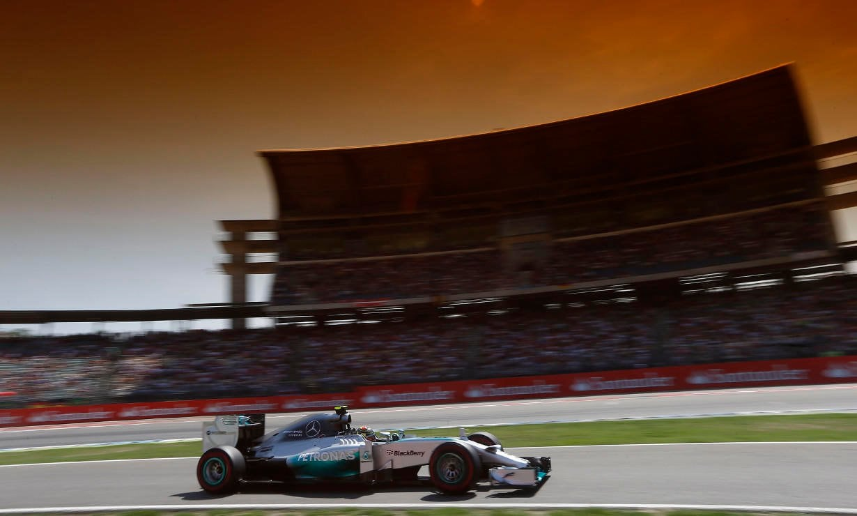 Nico Rosberg took a dominating home victory at the German Grand Prix with Lewis Hamilton finishing in third position.