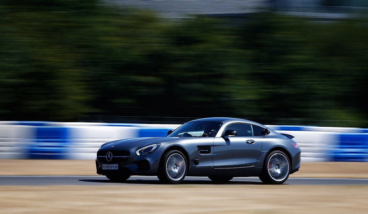 Mercedes-AMG GT S on the race track at Mercedes-Benz World.