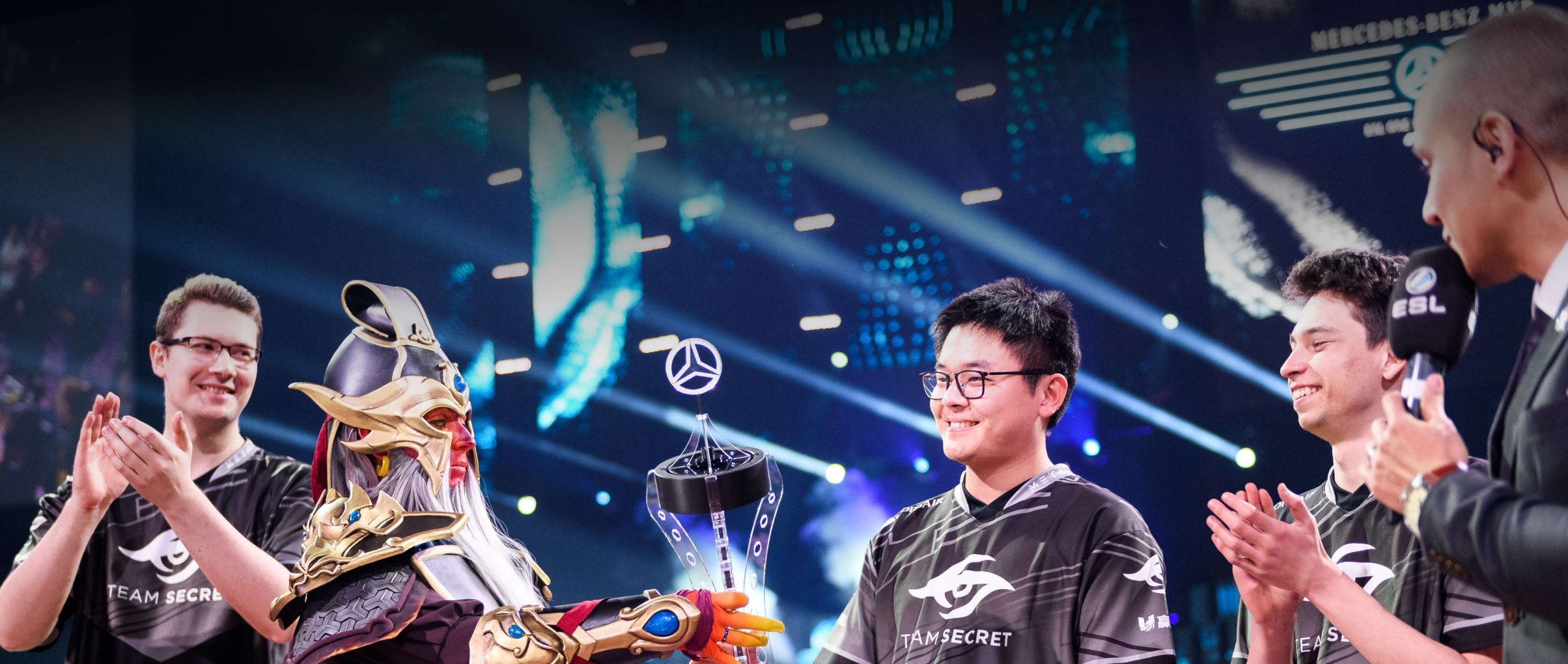 Mercedes-Benz MVP Trophy handed over to MidOne from Team Secret at the ESL One Hamburg.