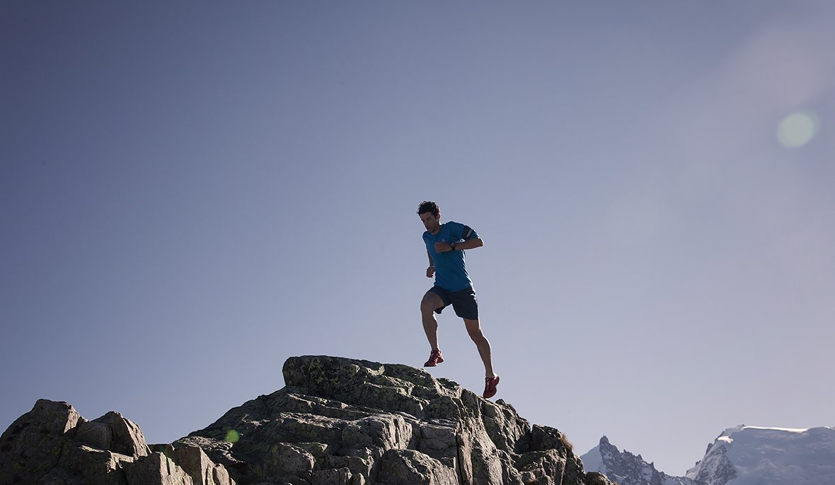 The free runner Kilian Jornet trains long-distance mountain racing in the French Alps near Chamonix.