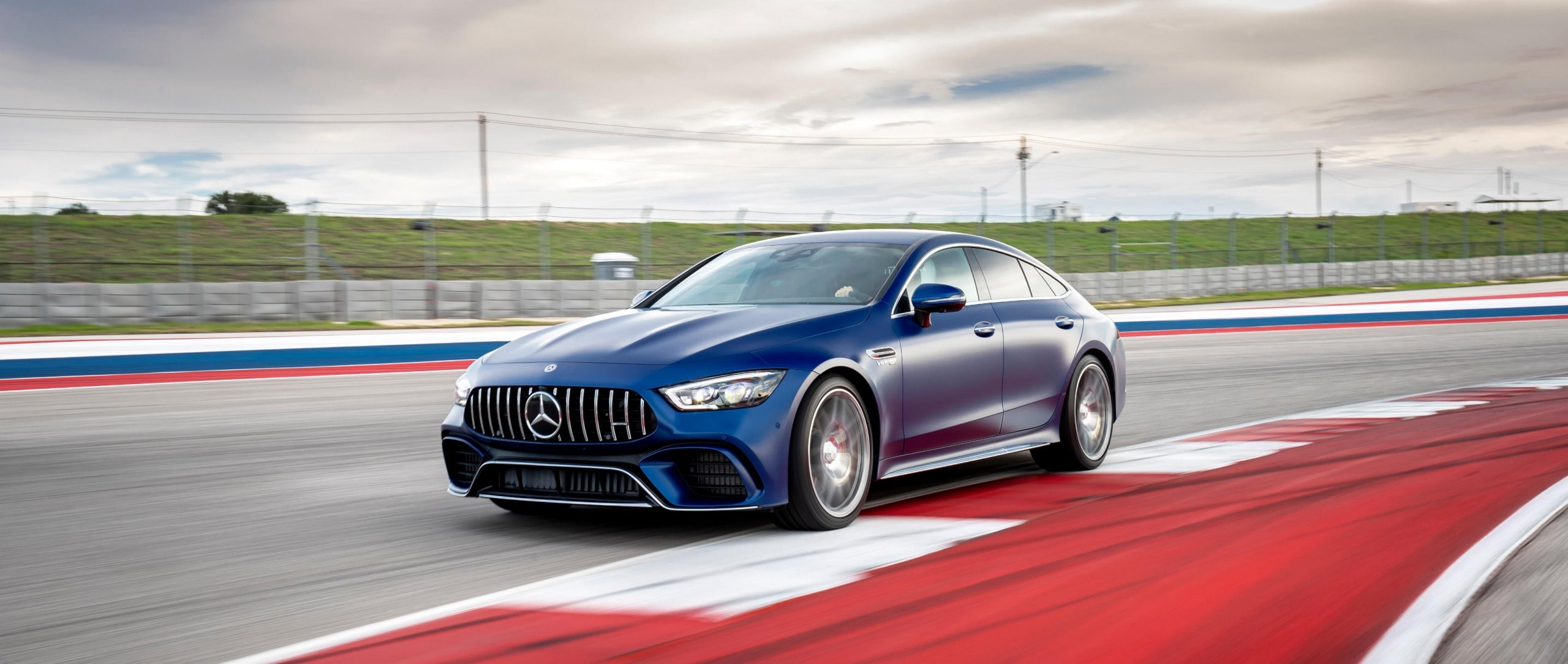 The Mercedes-AMG GT 63 S 4MATIC+ 4-Door Coupé on the racetrack.