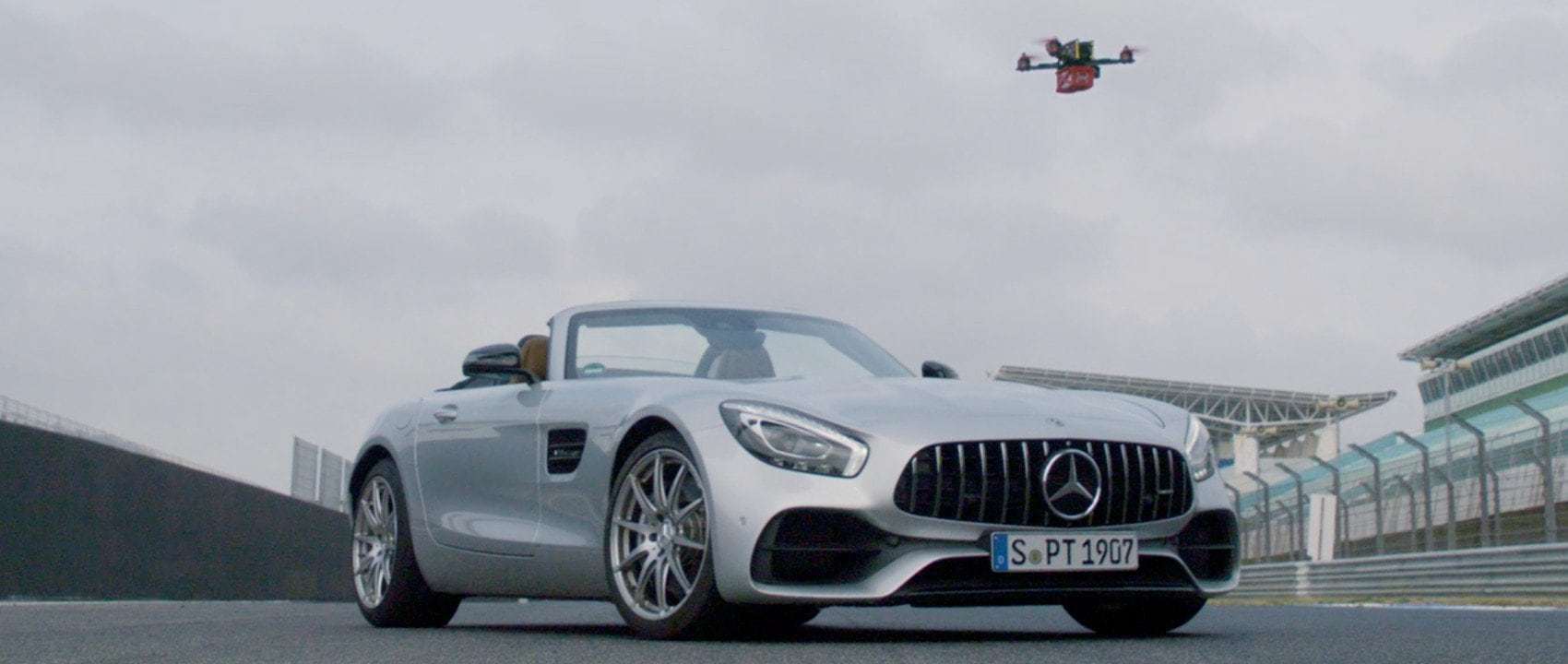 Mercedes-AMG GT Roadster: Sports Car vs Racing Drone.