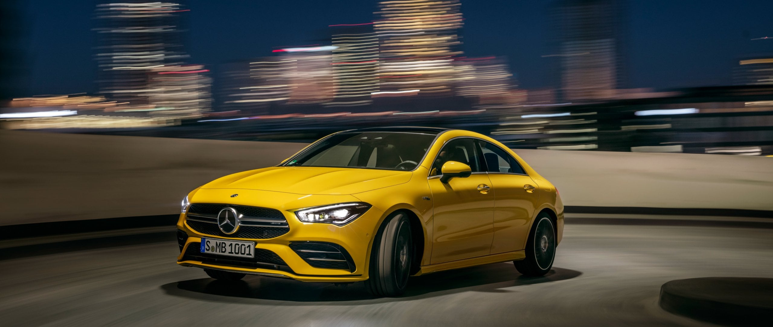 Front view of the new 2019 Mercedes-AMG CLA 35 4MATIC (C 118) in sun yellow.