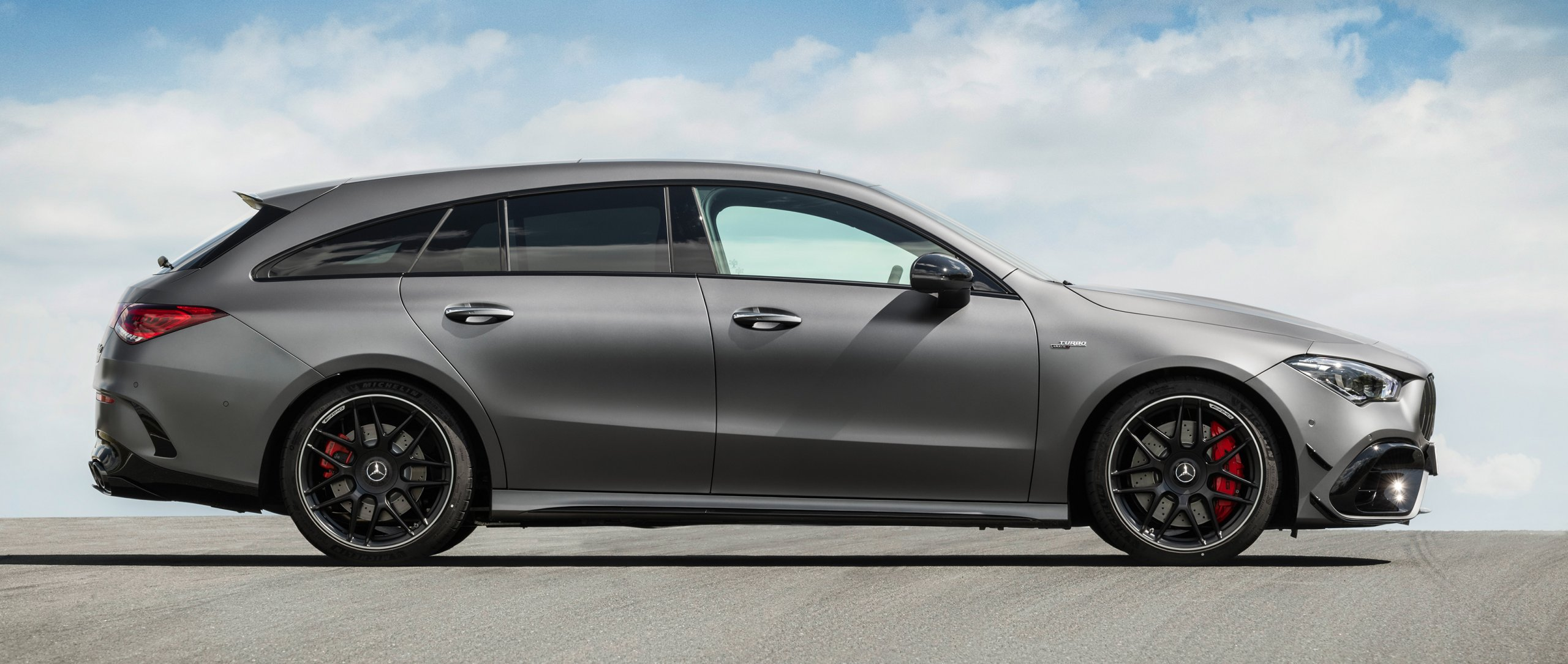 Mercedes-AMG CLA 45 S 4MATIC+ Shooting Brake (X 118) (2020) in designo mountain grey magno in side view