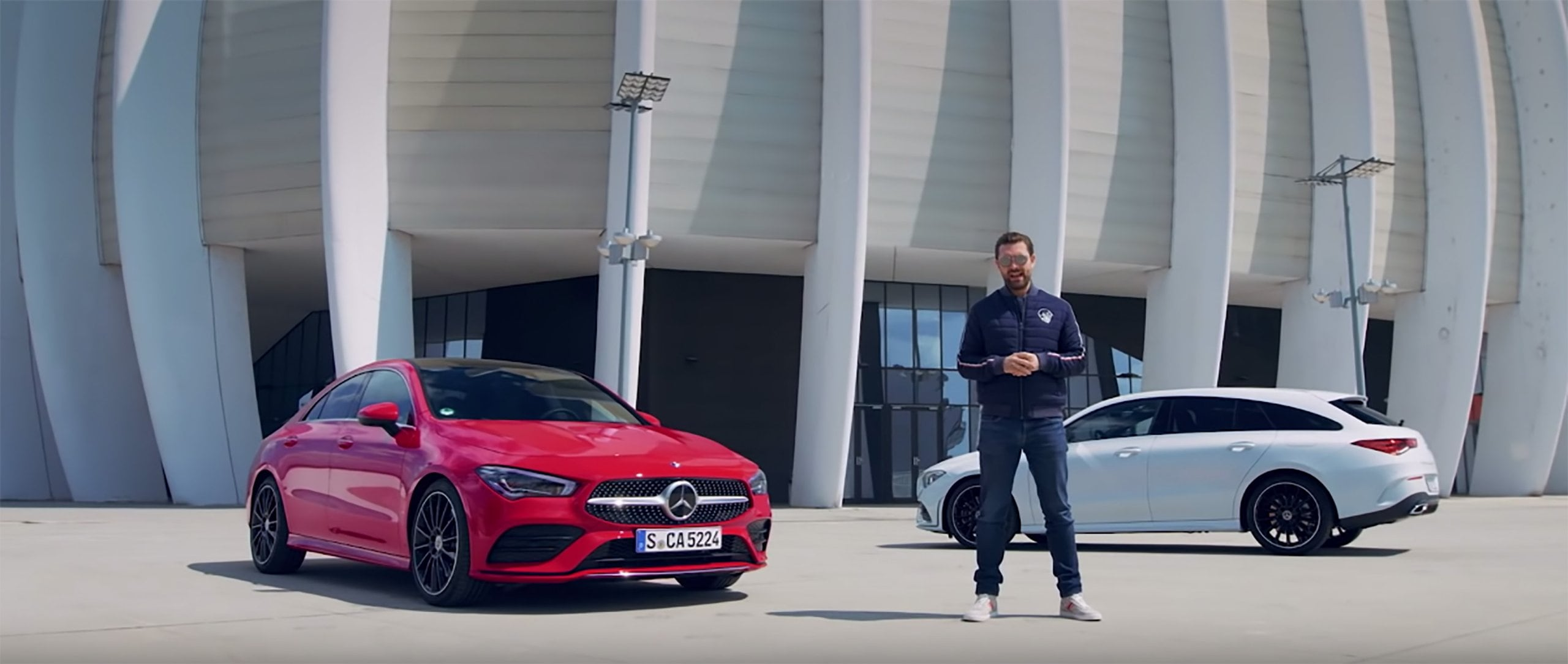 The new 2019 Mercedes-Benz CLA 250 4MATIC Coupé (C 118) in jupiter red next to the Mercedes-Benz CLA Shooting Brake, presented by MrJWW
