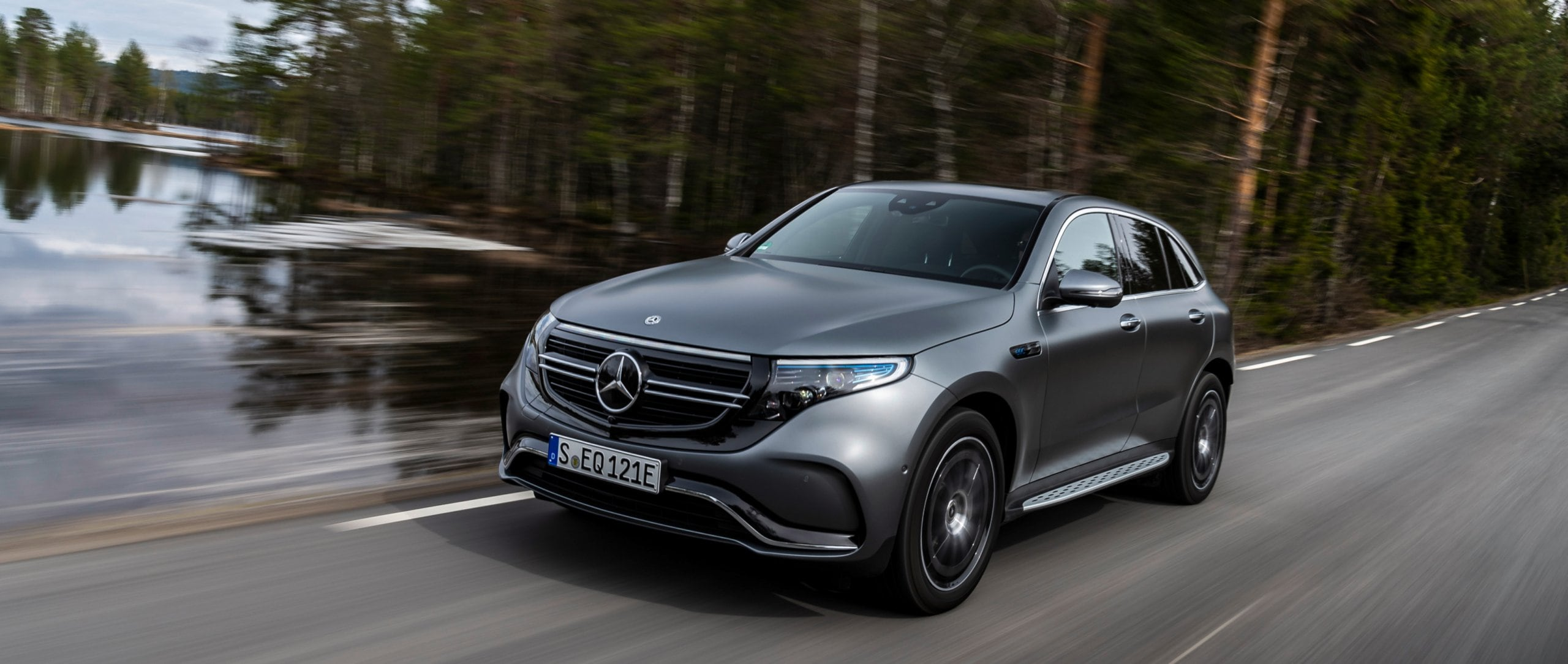 The new 2019 Mercedes-Benz EQC 400 4MATIC (N 293) AMG Line in designo selenite grey magno on a country road near Oslo, Norway.