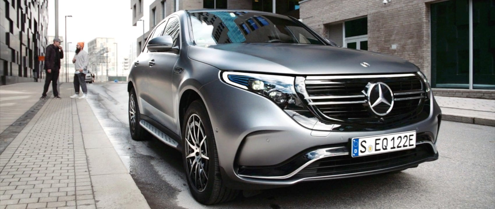 The new 2019 Mercedes-Benz EQC (N 293) in designo selenite grey magno in Oslo.