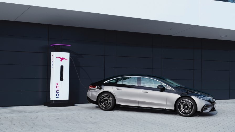 The new 2021 EQS (V 297) by Mercedes-EQ at an IONITY charging station