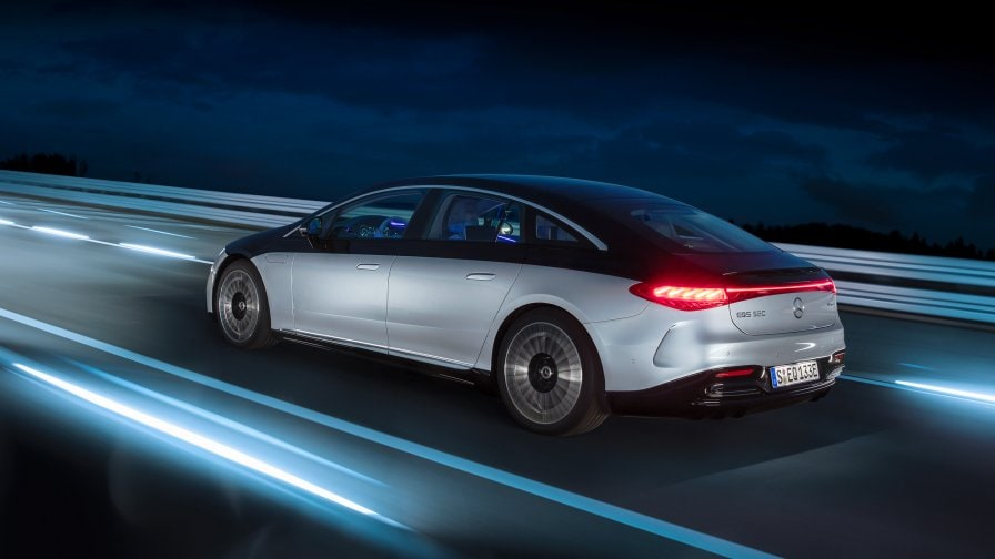 Rear view of the new 2021 EQS 580 4MATIC (V 297) by Mercedes-EQ at night