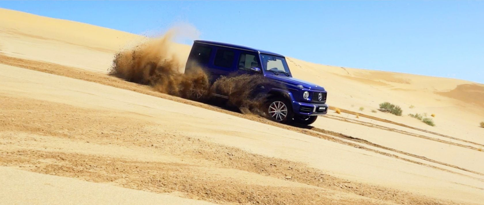 The 2019 Mercedes-AMG G 63 (W 463) in brilliant blue in the Chinese Desert.
