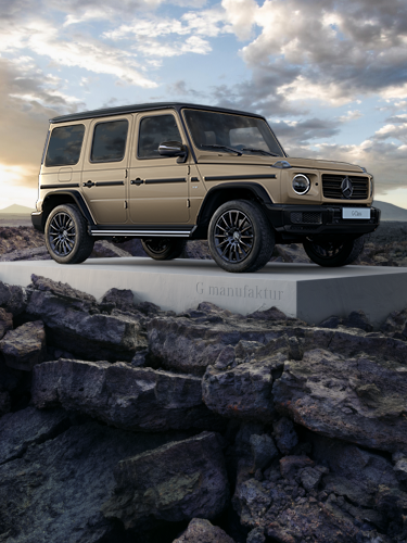 The G-Class with G manufaktur in the lava landscape on Lanzarote.