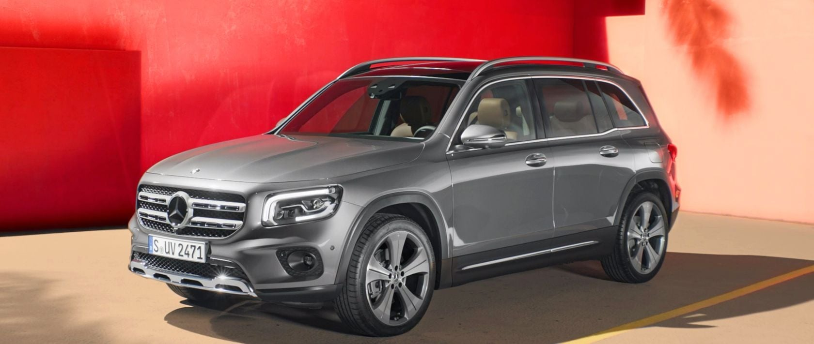 The new 2019 Mercedes-Benz GLB (X 247) in mojave silver.