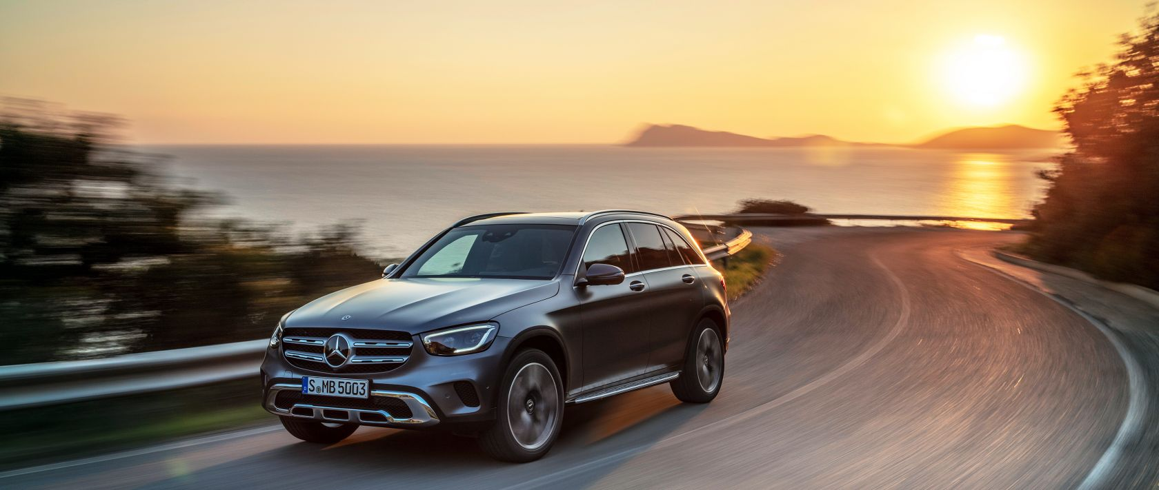 The new 2019 Mercedes-Benz GLC 300 4MATIC (X 253) in designo selenite grey magno at sunset.