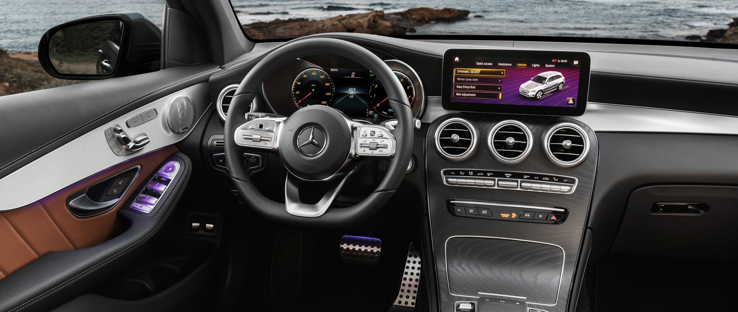 The interior of the new 2019 Mercedes-Benz GLC (X 253) in leather saddle brown.