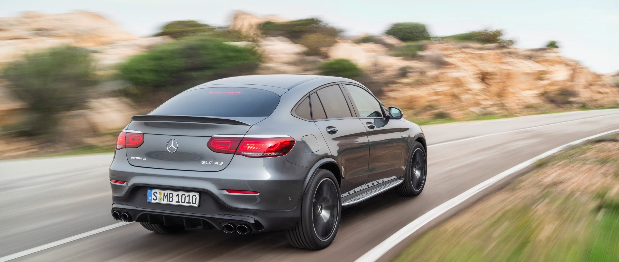 Rear view of the 2019 Mercedes-AMG GLC 43 4MATIC Coupé (C 253) in selenite grey.