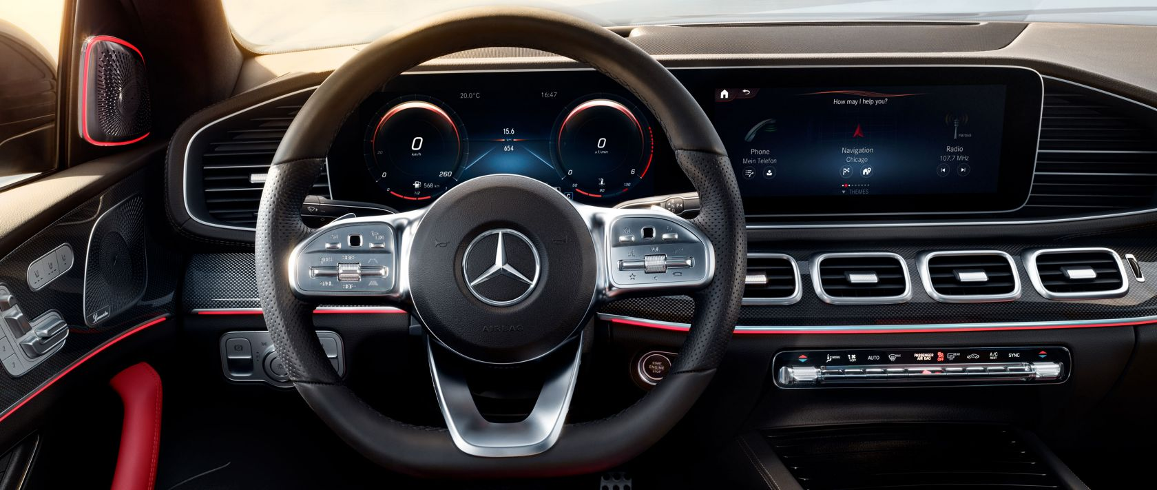 A close-up of the dashboard of the new Mercedes-Benz GLE Coupé (2020) with voice control LINGUATRONIC.