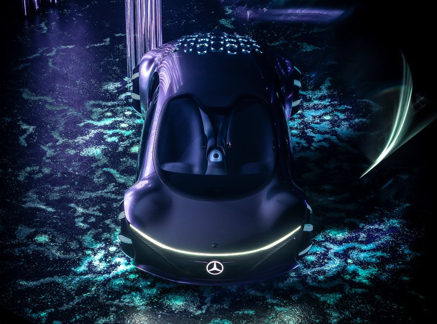 Bird's eye view of the Mercedes-Benz VISION AVTR – inspired by AVATAR