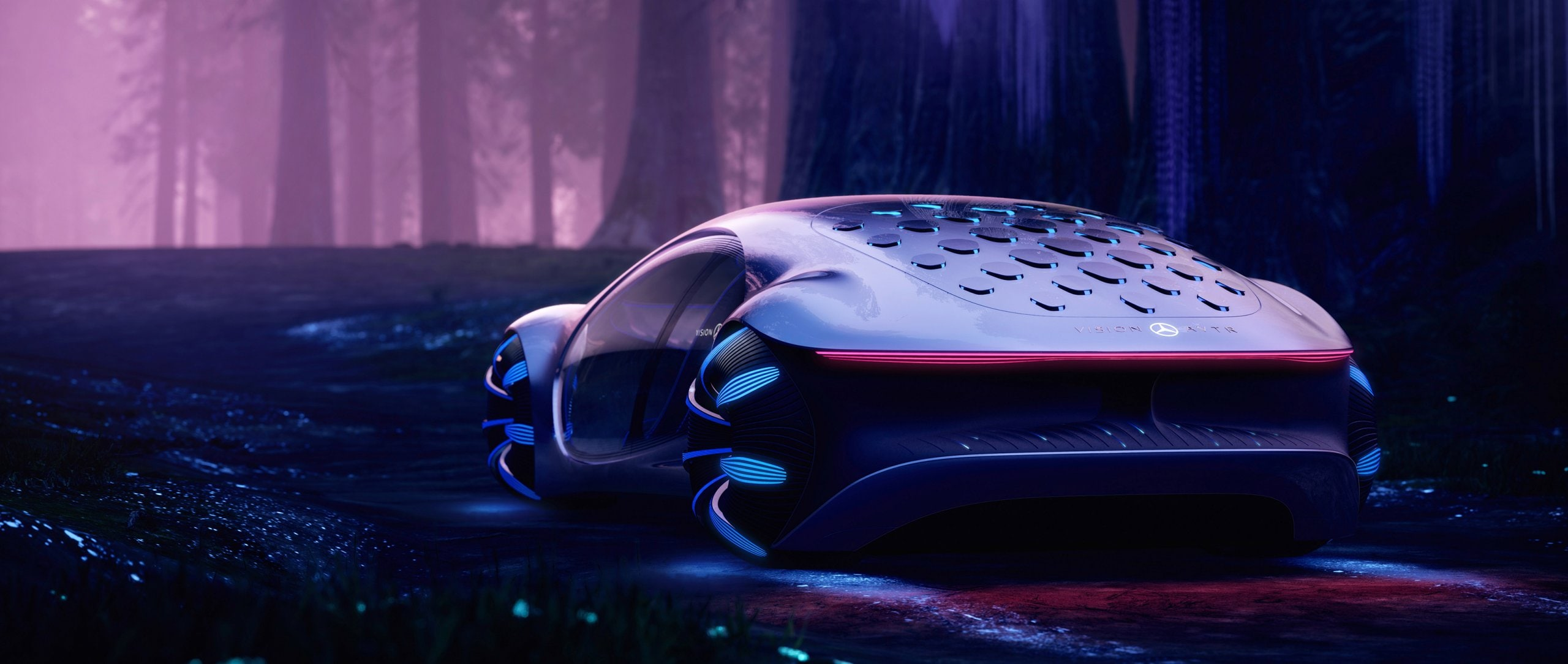 Rear view of the Mercedes-Benz VISION AVTR in a forest – inspired by AVATAR