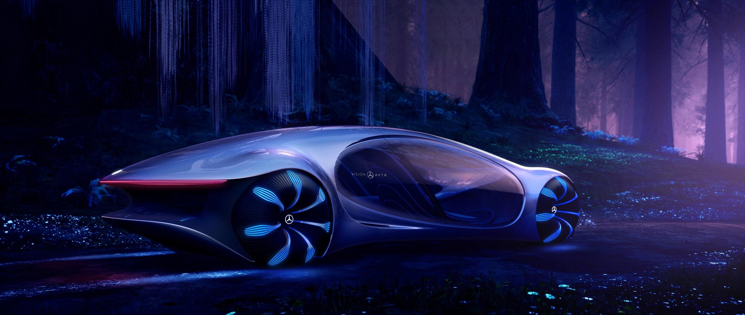 Side view of the Mercedes-Benz VISION AVTR in a forest – inspired by AVATAR