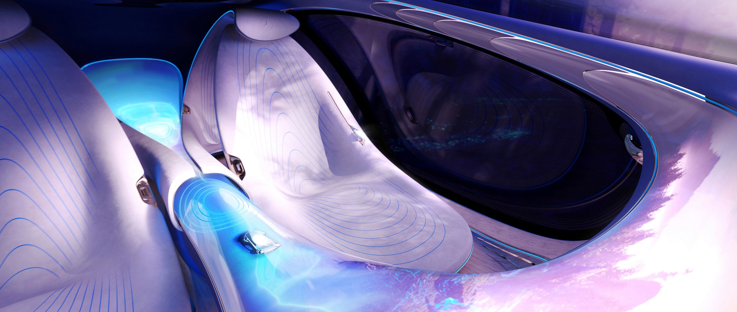 The seats of the Mercedes-Benz VISION AVTR – inspired by AVATAR