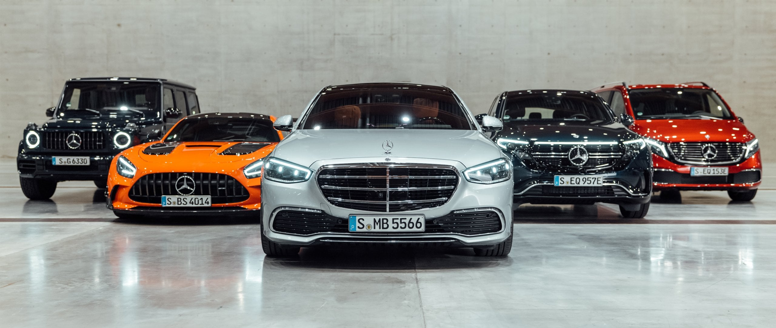 A selection of Mercedes-Benz and Mercedes-AMG models: G-Class, Mercedes-AMG GT Black Series, S-Class, EQC, EQV