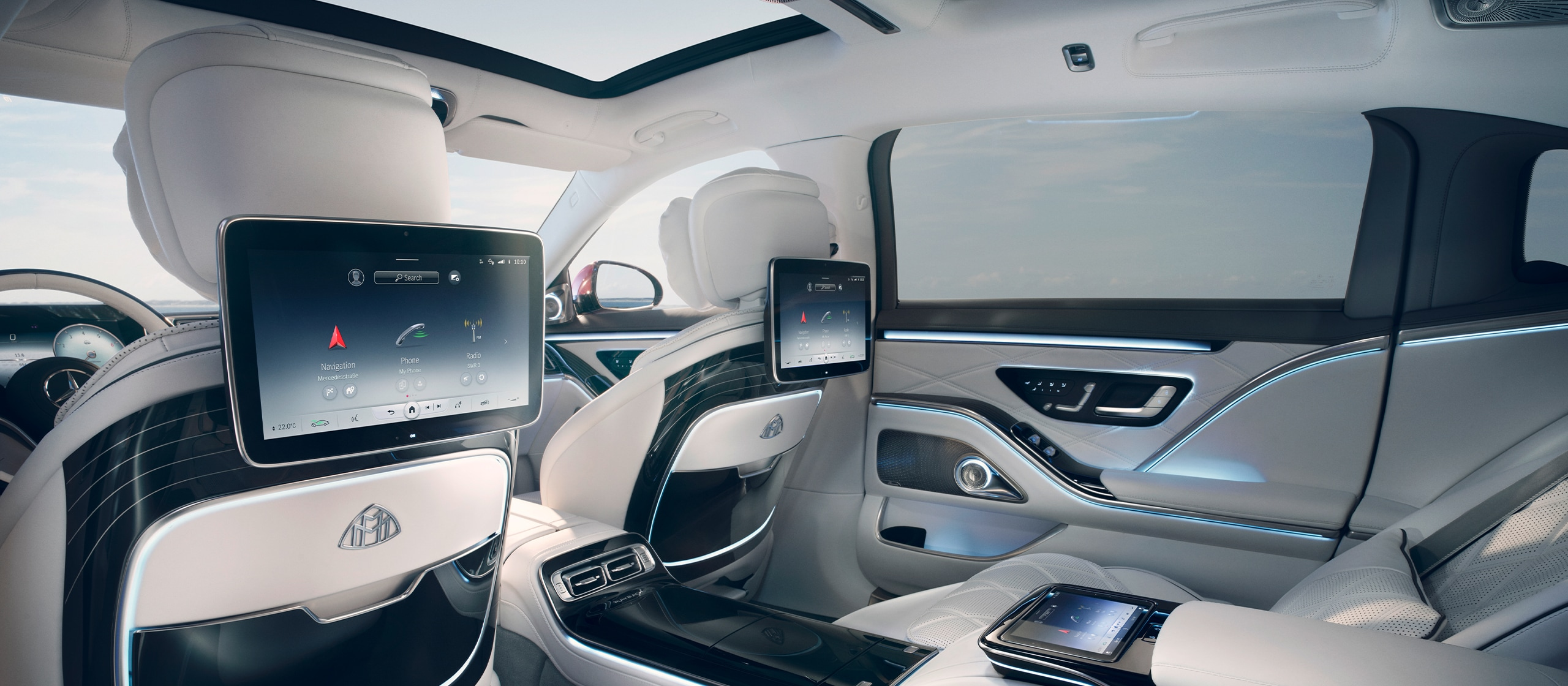 The new 2021 Mercedes-Maybach S-Class (Z 223): The picture shows the interior of the Mercedes-Maybach S-Class.