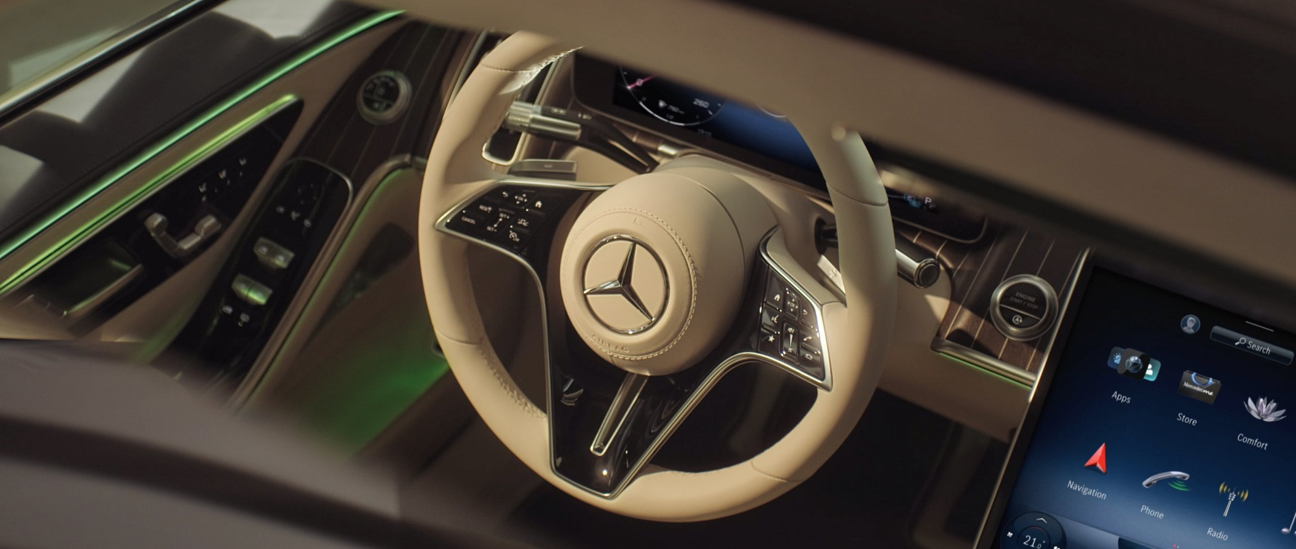Steering wheel in the 2020 Mercedes-Benz S-Class (BR 223)