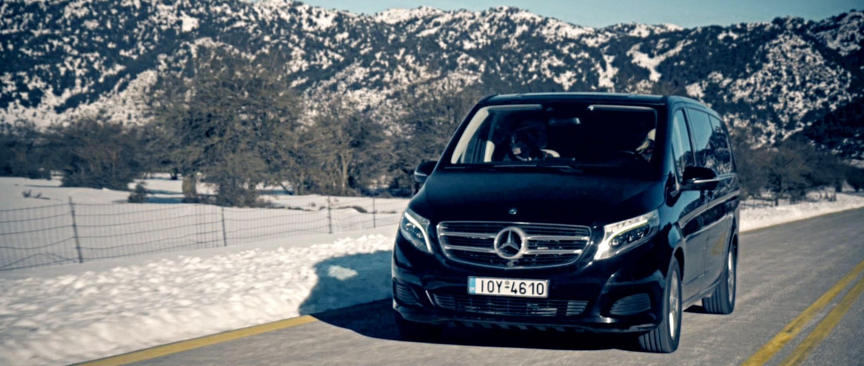 In the winter of 2017, five women traveled to the Greek Island of Crete to do a ski tour in the White Mountains. The women are sitting around their car – a Mercedes-Benz V-Class.